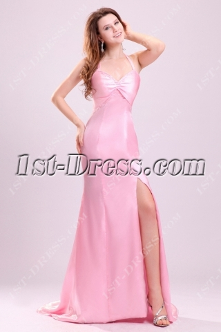 Pink Crossed Straps Formal Prom Dresses on Sale with Slit