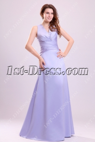 Lavender Modest V-neckline Graduation Dress for College
