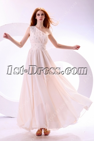 Light Champagne Chiffon One Shoulder Graduation Dress