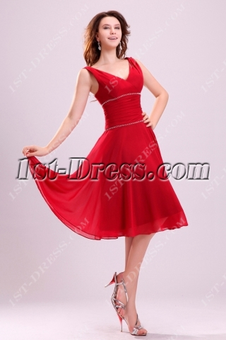 Light Red Chiffon Junior Prom Dress in Tea Length