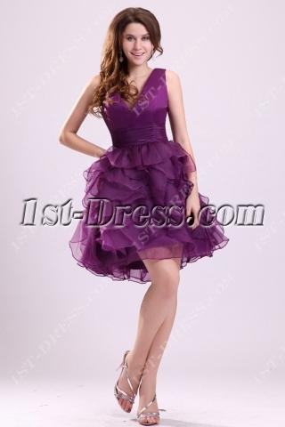 Lovely Grape Ruffle Short Sweet 16 Dress