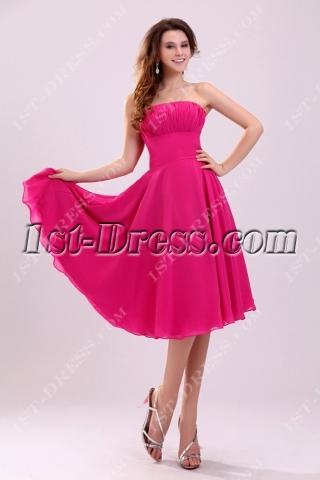 Lovely Tea Length Fuchsia Chiffon Homecoming Dress