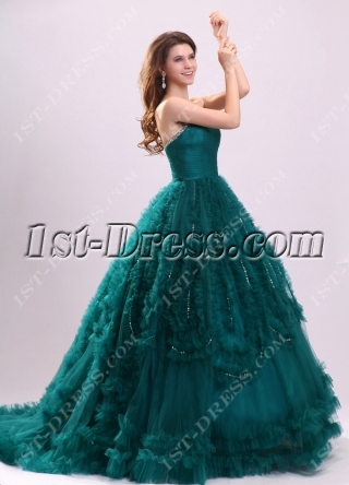 Luxurious Hunter Green 2014 Quinceanera Dresses with Train