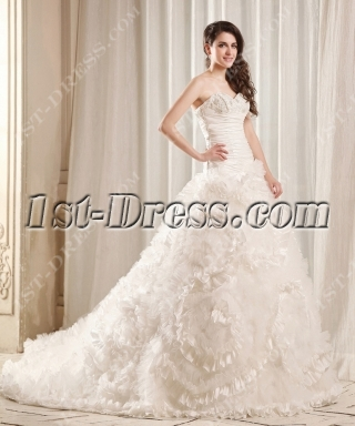 Luxurious Princess Wedding Dress 2014 with Flowers