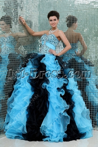 Luxury Blue and Black Puffy 2014 Mexican Quinceañera Dress
