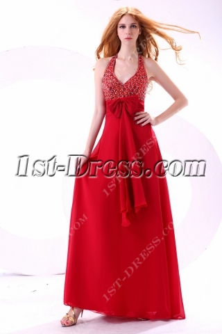 Luxury Halter Maternity Cocktail Gown with Jewels