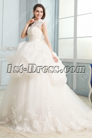 Modest High Neckline Lace Ball Gown Wedding Dresses with Keyhole