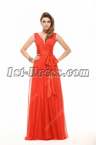 Modest Red Chiffon Prom Dress for Full Figure