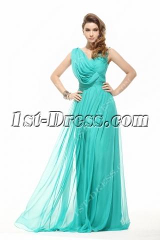 Modest V-neckline Long Chiffon Evening Dress 2014 Spring