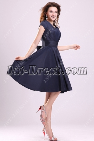 Navy Blue Modest Junior Prom Dresses with Cap Sleeves