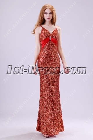 Noble Spaghetti Straps Gold and Red Sequins Evening Dress