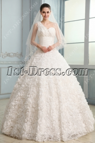 Noble Three Dimensional Flowers Wedding Dress with One Shoulder