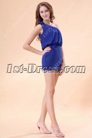 One Shoulder Royal Blue Homecoming Dresses under 100