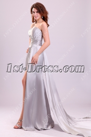Open Back Silver One Shoulder Sexy Prom Dress with Detachable Train