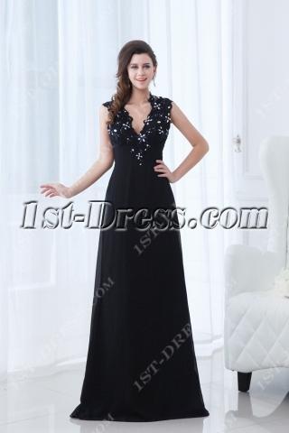 Plunge V-neckline Black Long Prom Dress with Keyhole for Mother of Groom