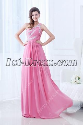 Popular One Shoulder Pink 2011 Prom Dress