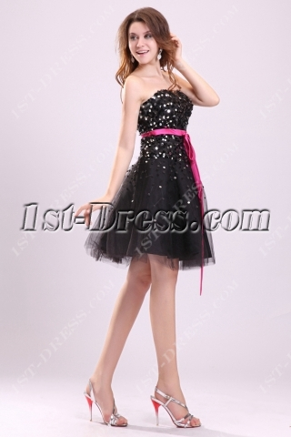 Pretty Black Sequins Sweet 16 Dresses for Birthday Girl
