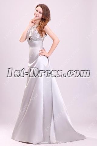 Pretty Silver Satin Open Back Wedding Dress