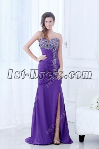 Purple New Arrival Fancy Prom Dress