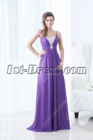 Purple Spaghetti Straps A-line Military Prom Gowns