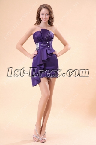 Purple Strapless Club Cocktail Dress