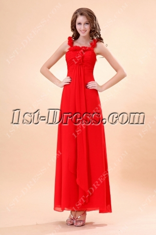 Red Ankle Length Baby Doll Pregnant Bridesmaid Dress