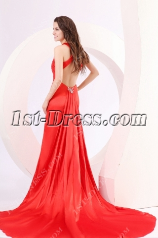 Red Criss-cross Straps Sexy Party Dress with Train