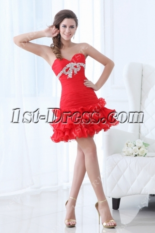 Red Dramatic Cocktail Dress with Drop Waist