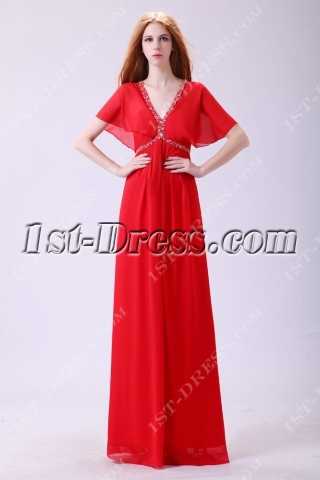 Red Fancy Butterfly Sleeves Prom dresses with V-neckline