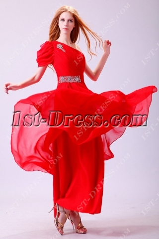 Red Long One Shoulder Sleeve 2014 Party Dress