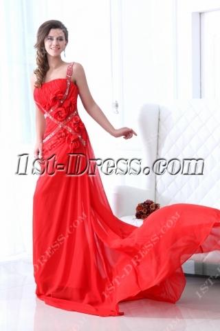 Red One Shoulder Formal Celebrity Dress with Train