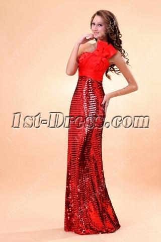 Red Sequins Sheath Celebrity Dress with One Shoulder