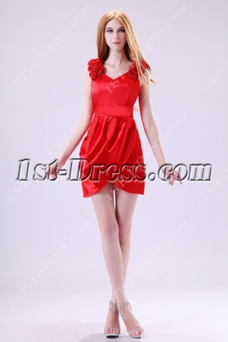 Red V-neckline Short Prom Dresses under 100