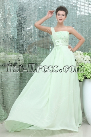 Romantic Sage One Shoulder Chiffon Celebrity Dress
