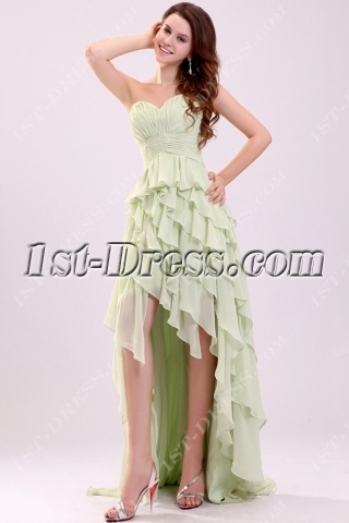 Sage Fancy Ruched Layers High-low Debutante Dress