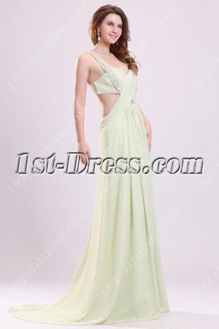 Sage Long Chiffon Sexy Party Dress