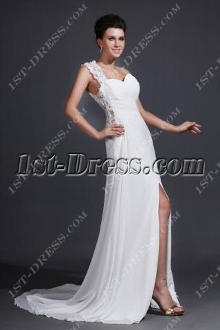 Sexy One Shoulder Chiffon Wedding Dress with Slit