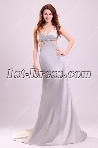 Sexy Silver Cross-criss Straps New Year Eve Dresses