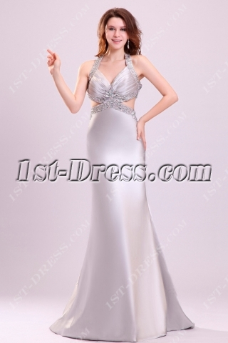 Sexy Silver Sheath Pageant Dress with Sweep Train