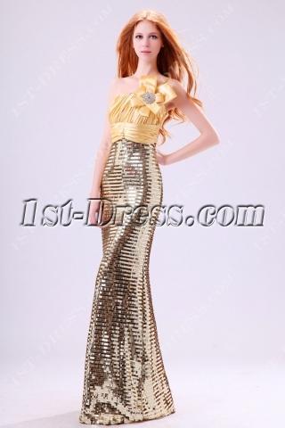 Shine Gold Sequins Sheath One Shoulder Evening Dress