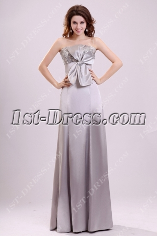Silver Fancy Long Formal Party Dress with Bow