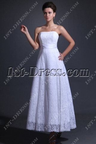 Simple Lace Tea Length Bridal Gown for Beach