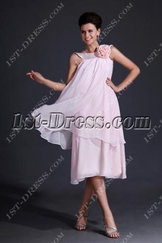 Simple Pink Short Mother of Groom Dress