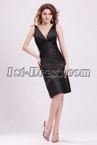 Simple Plunge V-neckline Little Black Dress