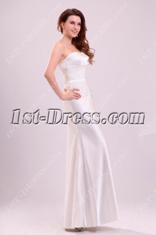 Simple sheath satin casual wedding gown 1st for Casual sheath wedding dresses