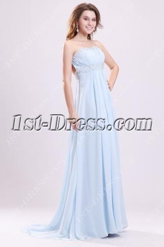Sky Blue Chiffon Open Back Sexy Maternity Party Dress