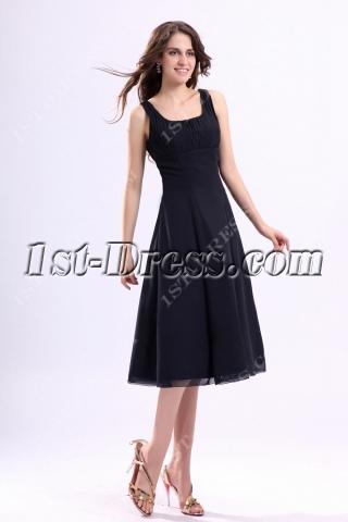 Square Chiffon Tea Length Little Black Dress