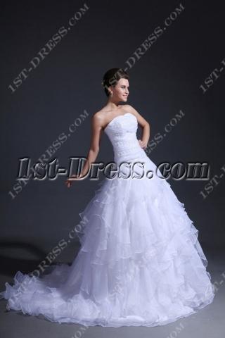 Strapless Ruffled Drop Waist Princess Wedding Dress