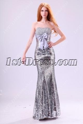 Strapless Silver Sequins 2014 Evening Dress