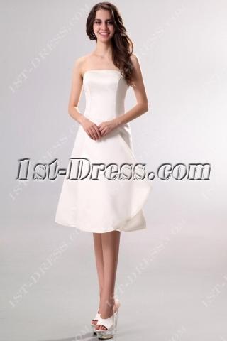 Strapless Simple Short Summer Wedding Dress